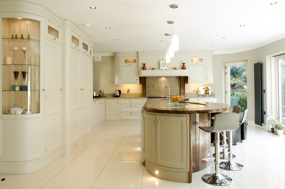 Admirable Painted Kitchen Featuring Walnut Island Top Naturally Wood Home Interior And Landscaping Ologienasavecom